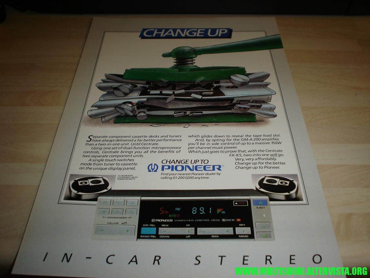 moltisuoni -autoradio pioneer fx5 centrate