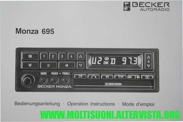 Becker monza 695 istruzioni - moltisuoni