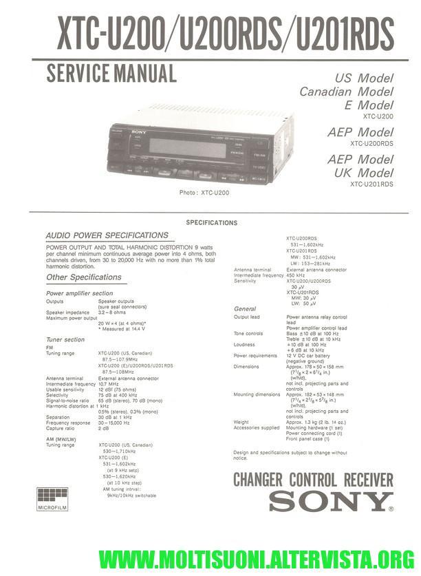 Sony XTC-U200 manual - moltisuoni
