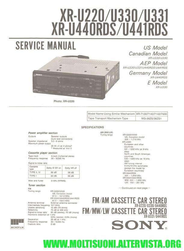 Sony xr-u440 manual - moltisuoni